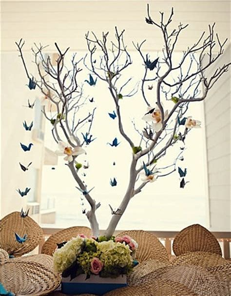 Origami Birds Wedding - origami bird branch wedding centerpieces budget brides