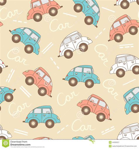 textile pattern website vector pattern with cartoon cars for use in design stock