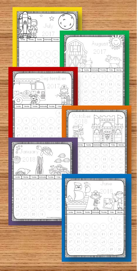 printable monthly calendar kindergarten new 2017 2018 themed printable calendars to color