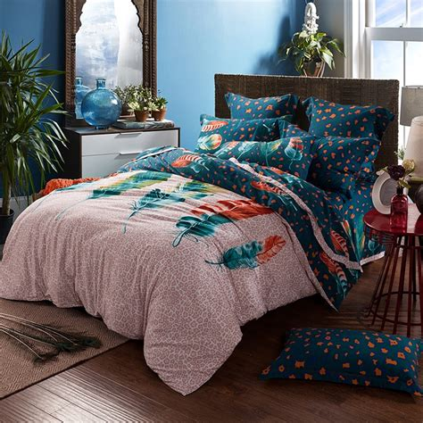 Beige Comforter Sets Queen Beige Dark Green And Rust Orange Feather Print And