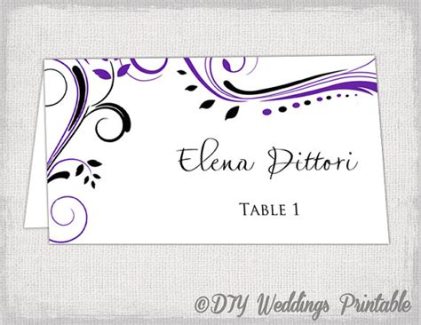 place card template purple and black scroll name