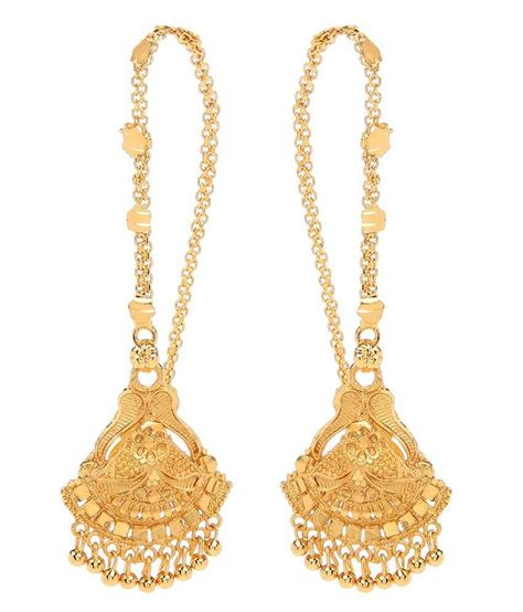 goldnera south indian style gold plated hanging earrings