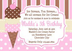 printable birthday invitations girls ice cream party