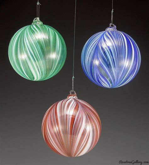 ribbon ornaments rosetree blown glass