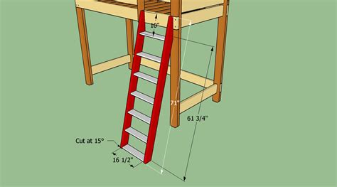 Bunk Bed Ladder Plans How To Build A Loft Bed With Stairs Howtospecialist How To Build Step By Step Diy Plans