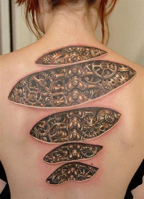 tatouage 3d engrenage tuxboard