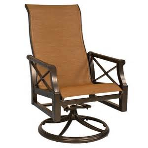 High Back Swivel Patio Chairs Andover Sling High Back Swivel Rocker From Woodard Furniture