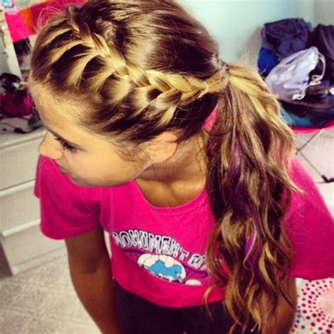 hair braidmed into pony tail with a ball crown braid into messy ponytail hairstyles how to