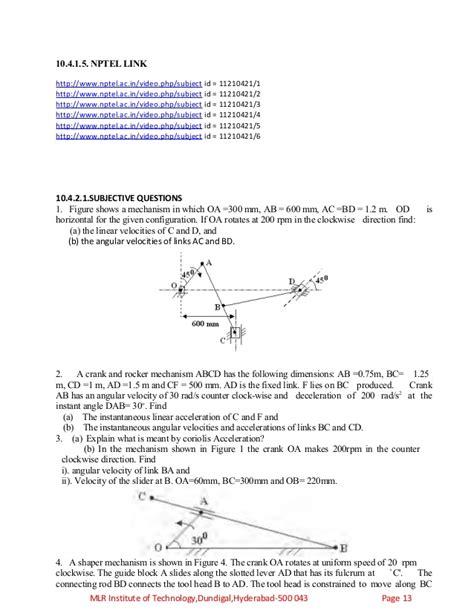 php tutorial nptel kinemtics of machinery objectives assignments tutorial