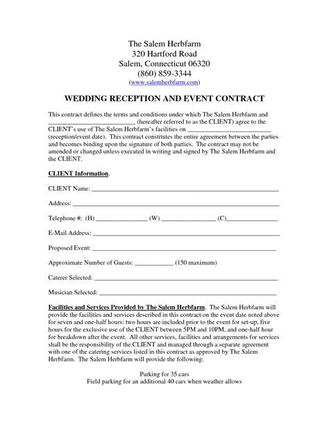 Wedding Venue Contract Template ? emmamcintyrephotography.com