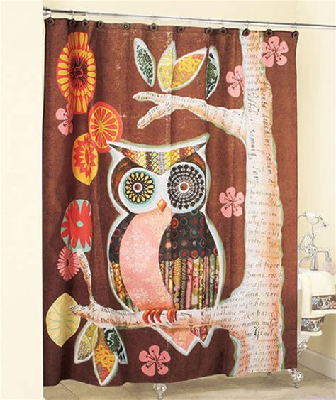 owl shower curtain owl friend shower curtain in fabric brown whimsical bath decor ebay