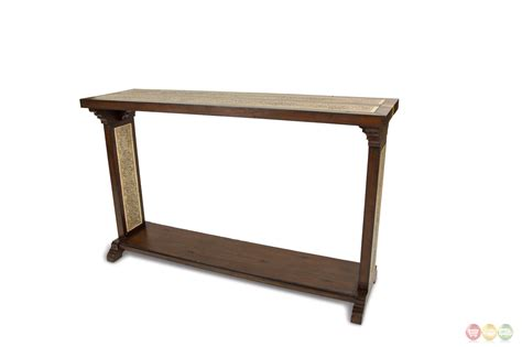 traditional sofa table la paz traditional sofa table w stone etched inlay in
