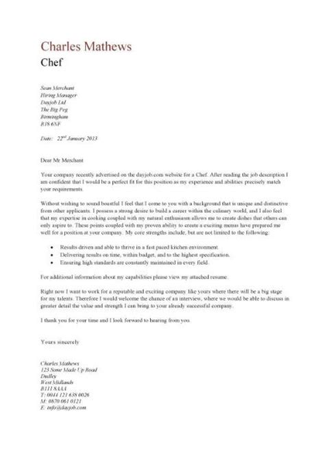 Cover Letter For Culinary Student – Cover Letter: Sample Pastry Chef Cover Letter Cover Letter