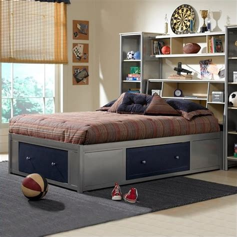 universal youth storage platform bed with bookcase