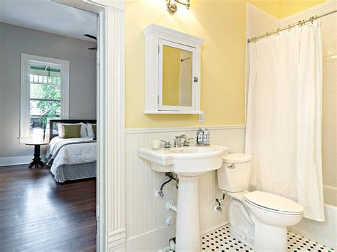 bathroom with yellow walls cottage yellow bath