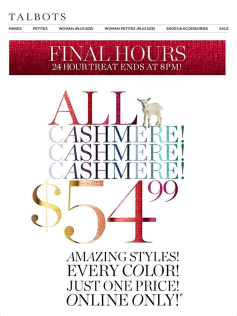 Talbots E Gift Card - talbots hours left this is it all cashmere 54 99 milled