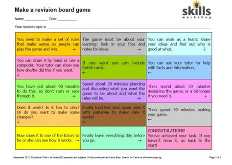 revision card template ict resources skills workshop