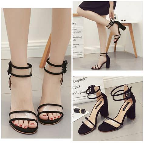 Promo Sepatu Sandal Wedges Casual Tali Cantik Sintetis Keren jual shh59409 black sepatu heels tali cantik 9 5cm grosirimpor