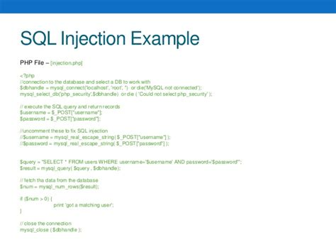 sql injection in action with php and mysql