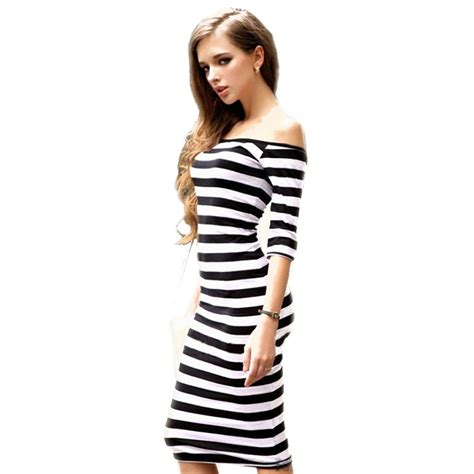 Dress Wanita Black White bodyfit dress wanita slim dress size l black white