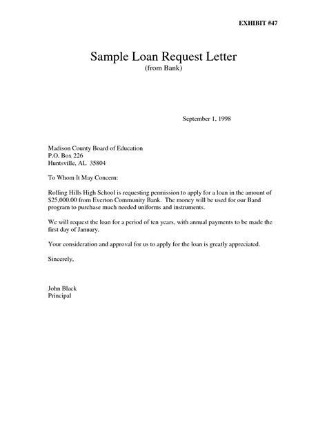Personal Loan Request Letter Sle Bank Loan Letter Template