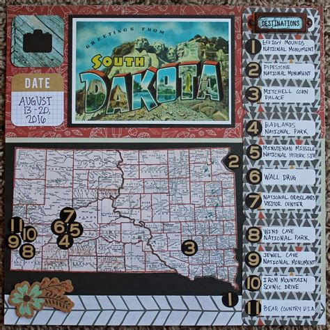 scrapbook layout maps south dakota scrapbook page with map and destinations
