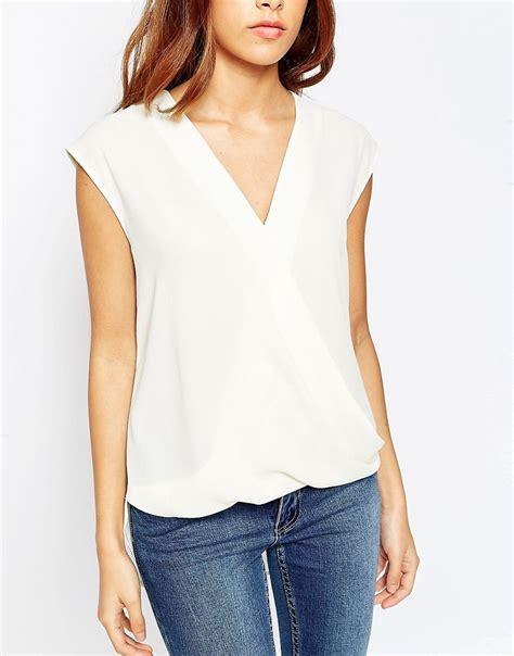 drape wrap blouse asos asos sleeveless drape wrap blouse at asos