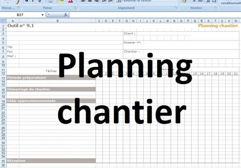 mod 232 le planning chantier excel cours g 233 nie civil