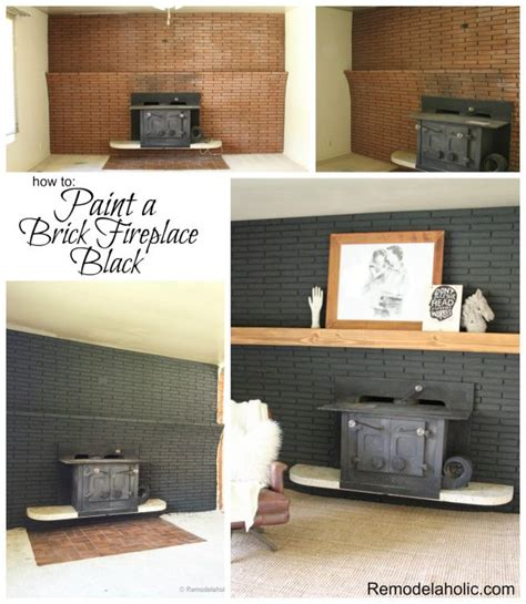 Black Painted Brick Fireplace by Remodelaholic Painted Black Brick Fireplace