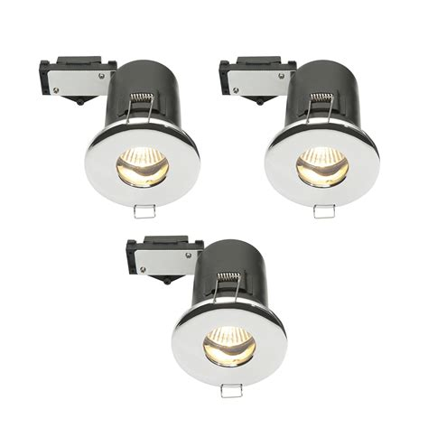 B Q Bathroom Lights Uk Diall Chrome Effect Led Fixed Downlight 3 5 W Ip65 Pack Of 3 Departments Diy At B Q