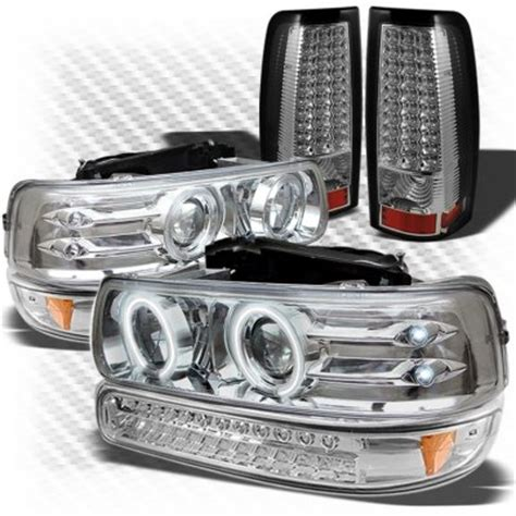 chevy silverado 1999 2002 chrome projector headlights bumper lights and led lights