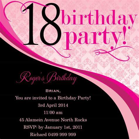 18th birthday invitations 18th birthday invitation wording ideas