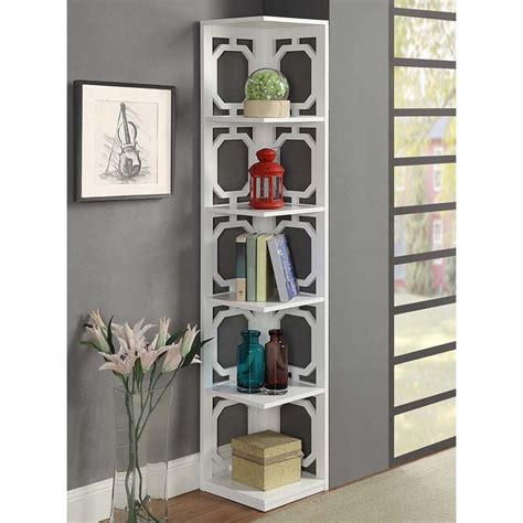 5 shelf white bookcase 5 shelf corner bookcase in white 203280w