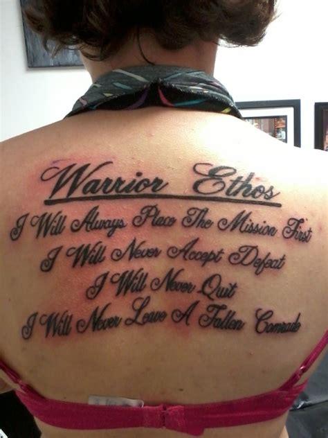 ethos tattoo warrior ethos on back tattooshunt