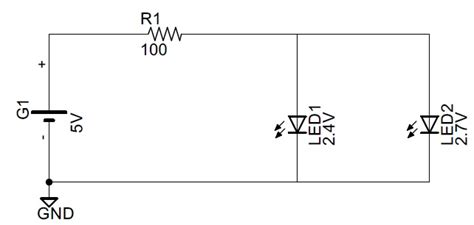 current split through parallel resistors circuit analysis how is current split with two parallel led s electrical engineering stack