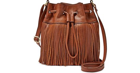 Fossil Jules Large Brown fossil jules fringe leather drawstring mini bag in brown lyst