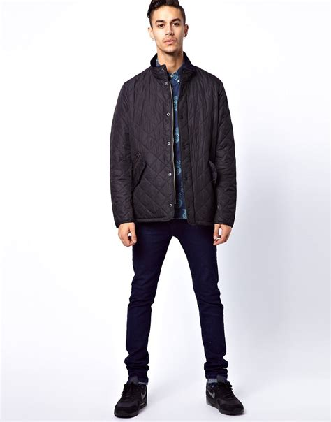 barbour barbour chelsea sports quilted jacket in navy at