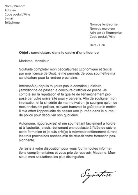 Exemple De Lettre De Motivation Université Licence Lettre Motivation Universite Licence