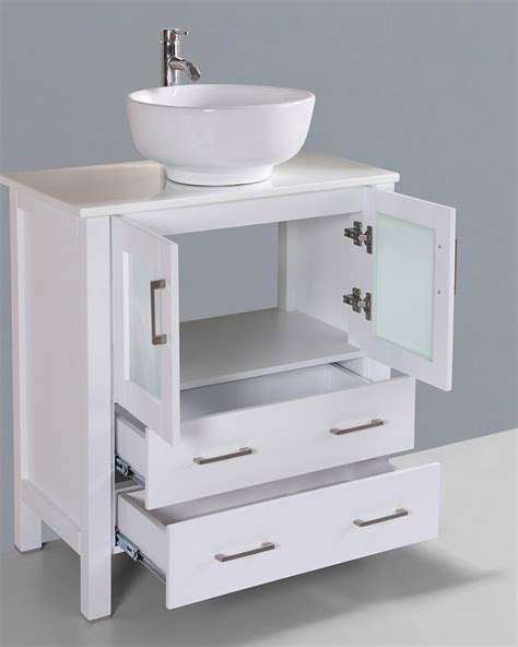 White Bathroom Vanity With Vessel Sink by White 30in Vessel Sink Single Vanity By Bosconi Boaw130ro