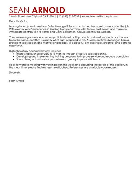 cover letter for a sales assistant best sales assistant manager cover letter exles