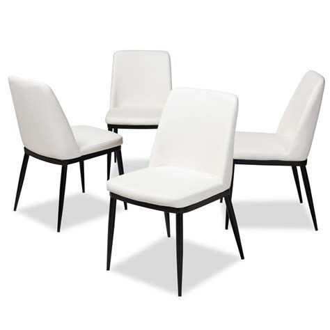 baxton studio darcell white faux leather upholstered dining chair set    pc  hd