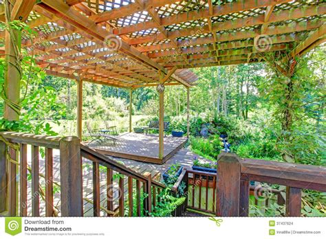 Trellis With Bench Backyard Farm Deck With Attached Open Pergola Stock Photo