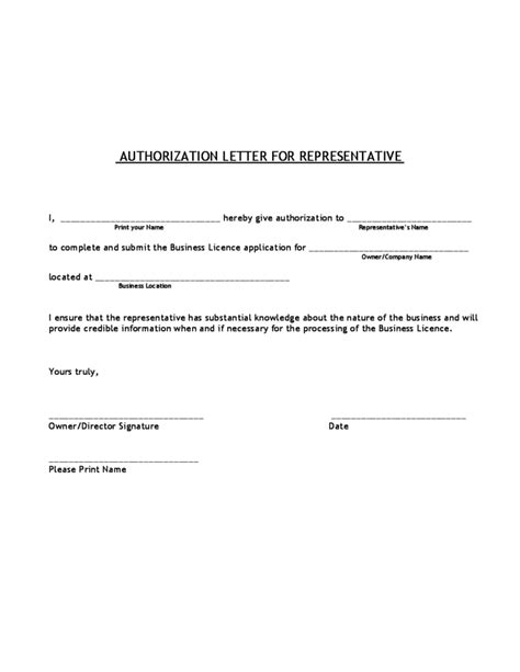 authorization letter of representative authorization letter for representative free