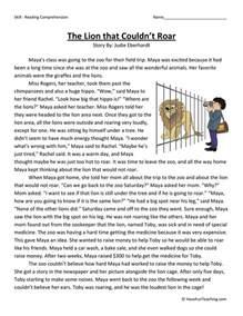 third grade reading comprehension worksheet the lion