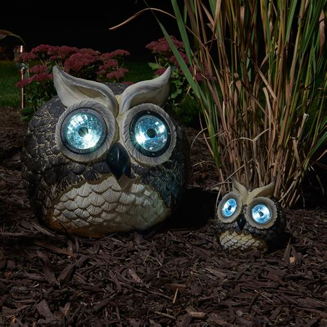 Solar Owl Accent Lights Mother And Baby Set Of 2 Solar Owl Lights