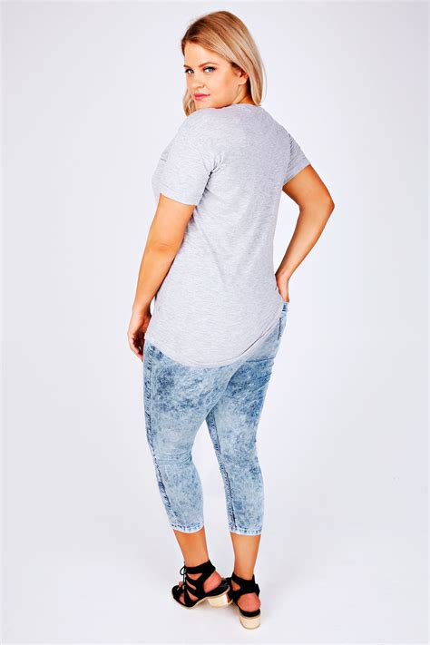 Huggle Cropped Blue Acid light blue acid wash cropped denim jegging plus size 14 to 28