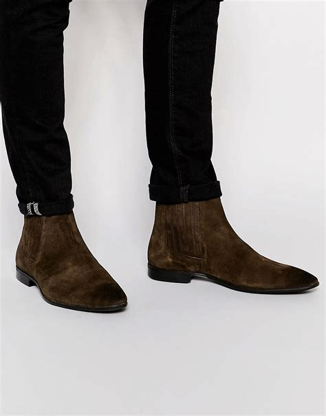 asos asos chelsea boots in brown suede with concealed