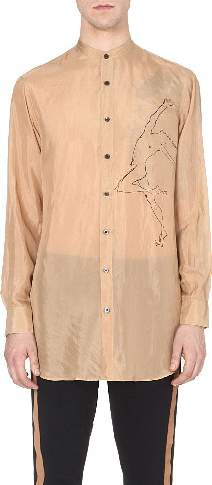 dries noten printed silk shirt for in for lyst