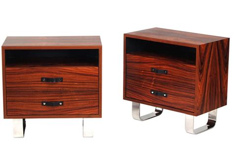 Stainless Steel Nightstand Modernist Series Nightstand I Rosewood Polished Stainless Steel Custom Contemporary