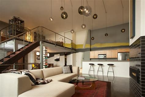 movie house modernist urban loft with modern great room mini bar and man cave